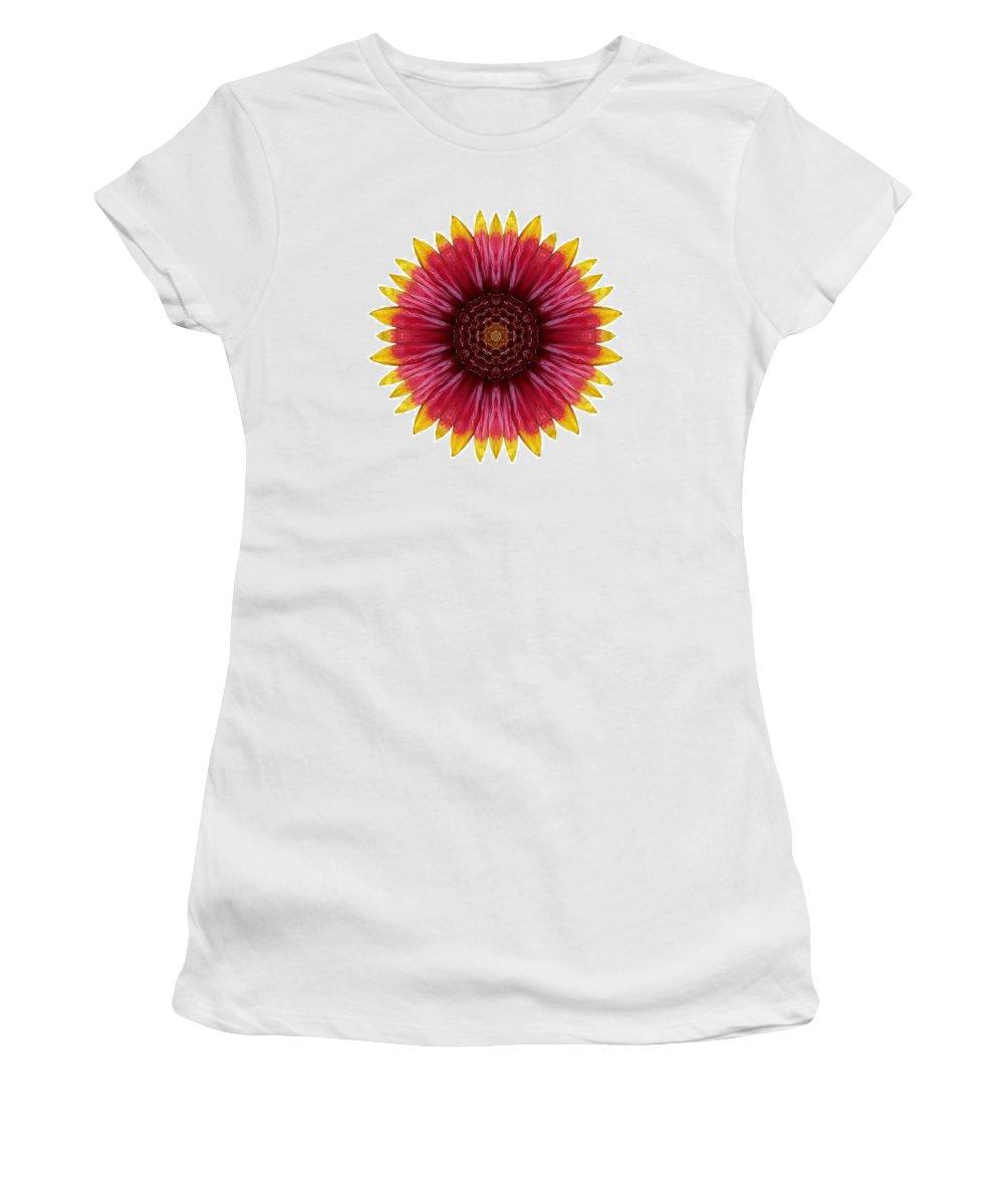 Flower Women's T-Shirt featuring the photograph Galliardia Arizona Sun I Flower Mandala White by David J Bookbinder
