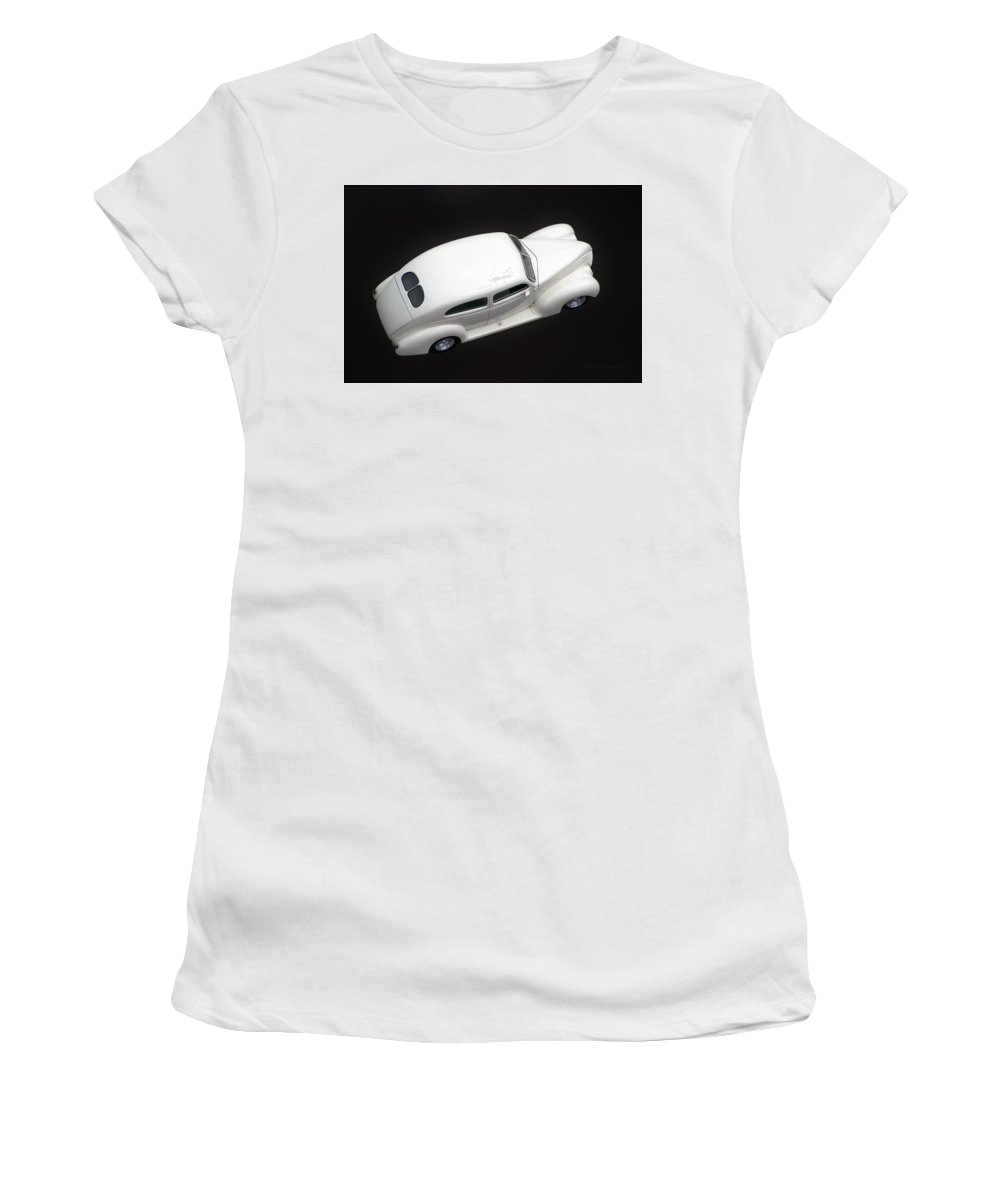 White Car Women's T-Shirt (Athletic Fit) featuring the photograph White Lines by Thomas Woolworth