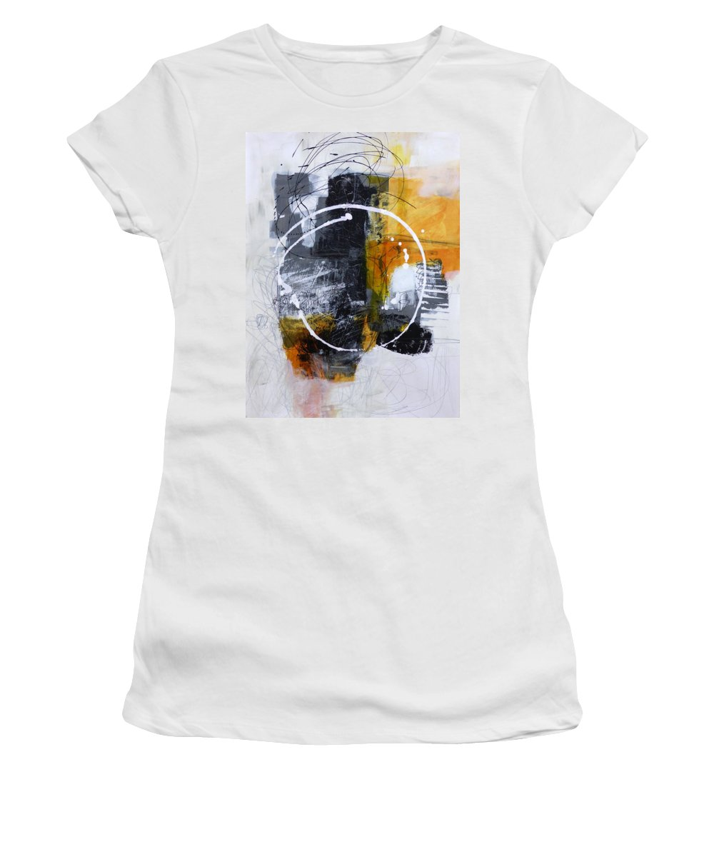 Keywords: Abstract Women's T-Shirt featuring the painting White Out 3 by Jane Davies