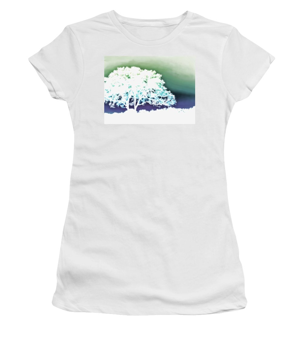 Nature Women's T-Shirt featuring the painting White Silhouette Of Oak Tree Against Blue And Green Watercolor Background by Elaine Plesser