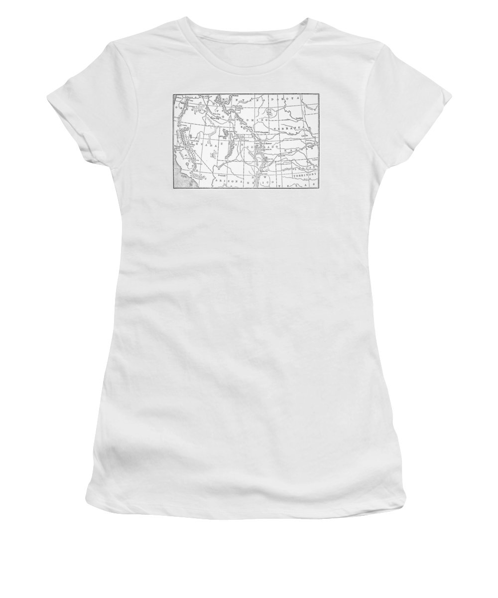 1843 Women's T-Shirt (Athletic Fit) featuring the drawing Whitman's Route by Granger