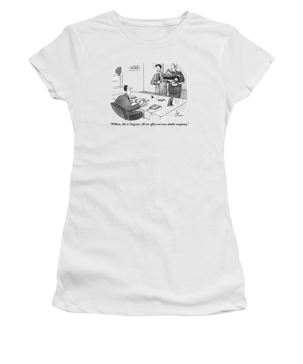 One Businessman Says To Another Women's T-Shirt (Athletic Fit) featuring the drawing Wilkins, This Is Cosgrove. All Our Offices by Leo Cullum