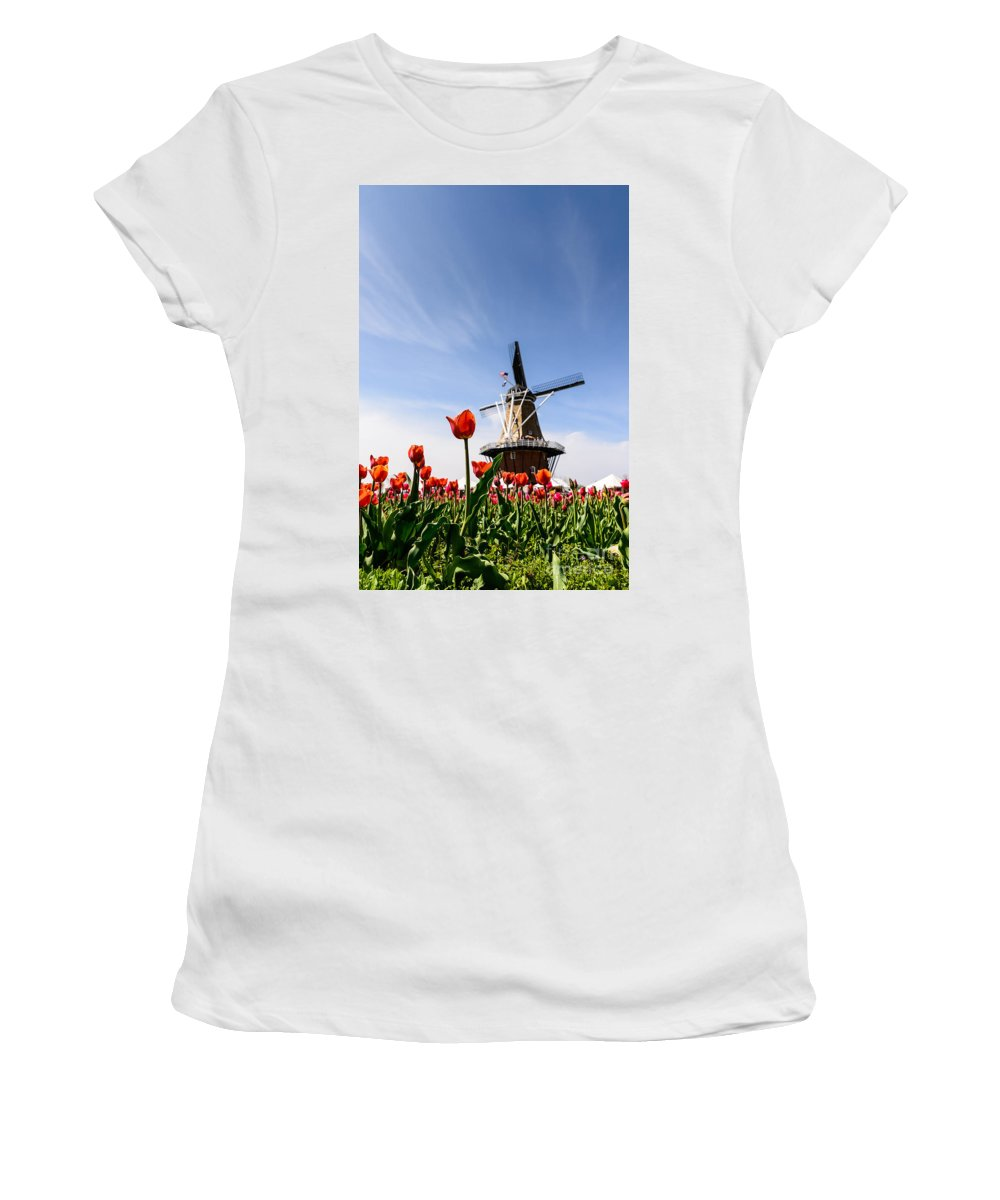 Landscape Women's T-Shirt (Athletic Fit) featuring the photograph Windmill Island Gardens by Patrick Shupert