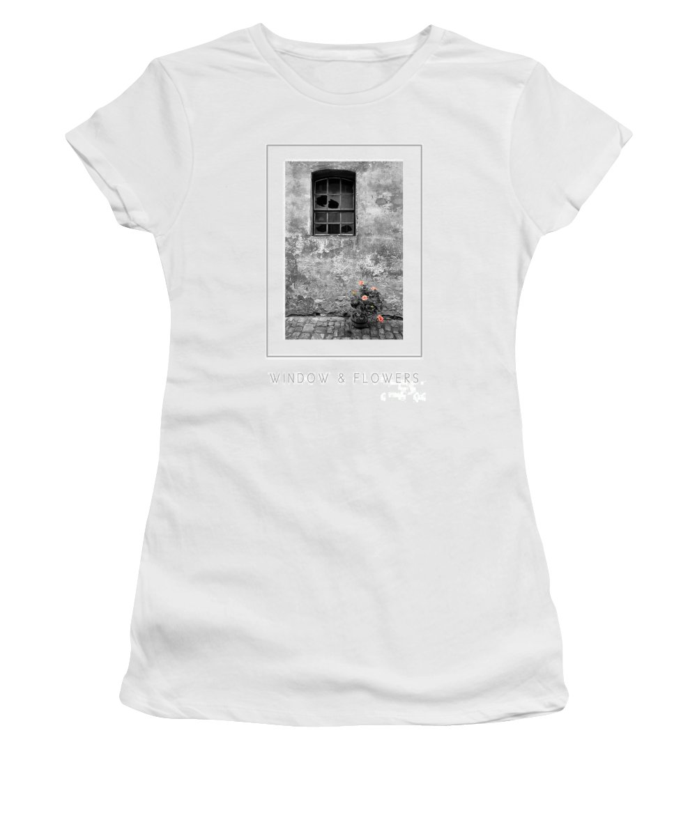 Building Women's T-Shirt (Athletic Fit) featuring the photograph Window And Flowers Poster by Mike Nellums