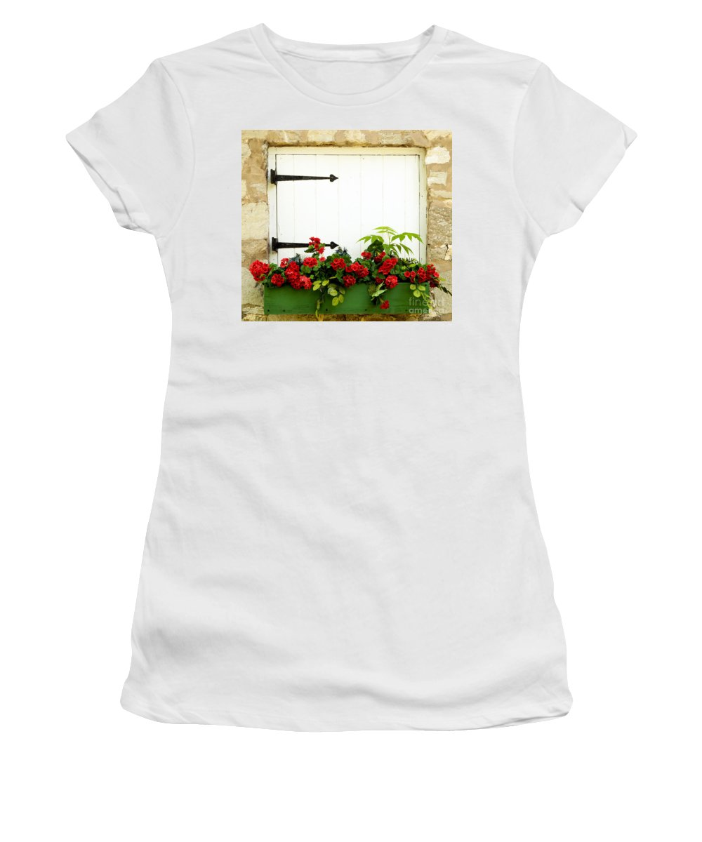 Flowers Women's T-Shirt featuring the photograph Window Box 2 by Paul W Faust - Impressions of Light