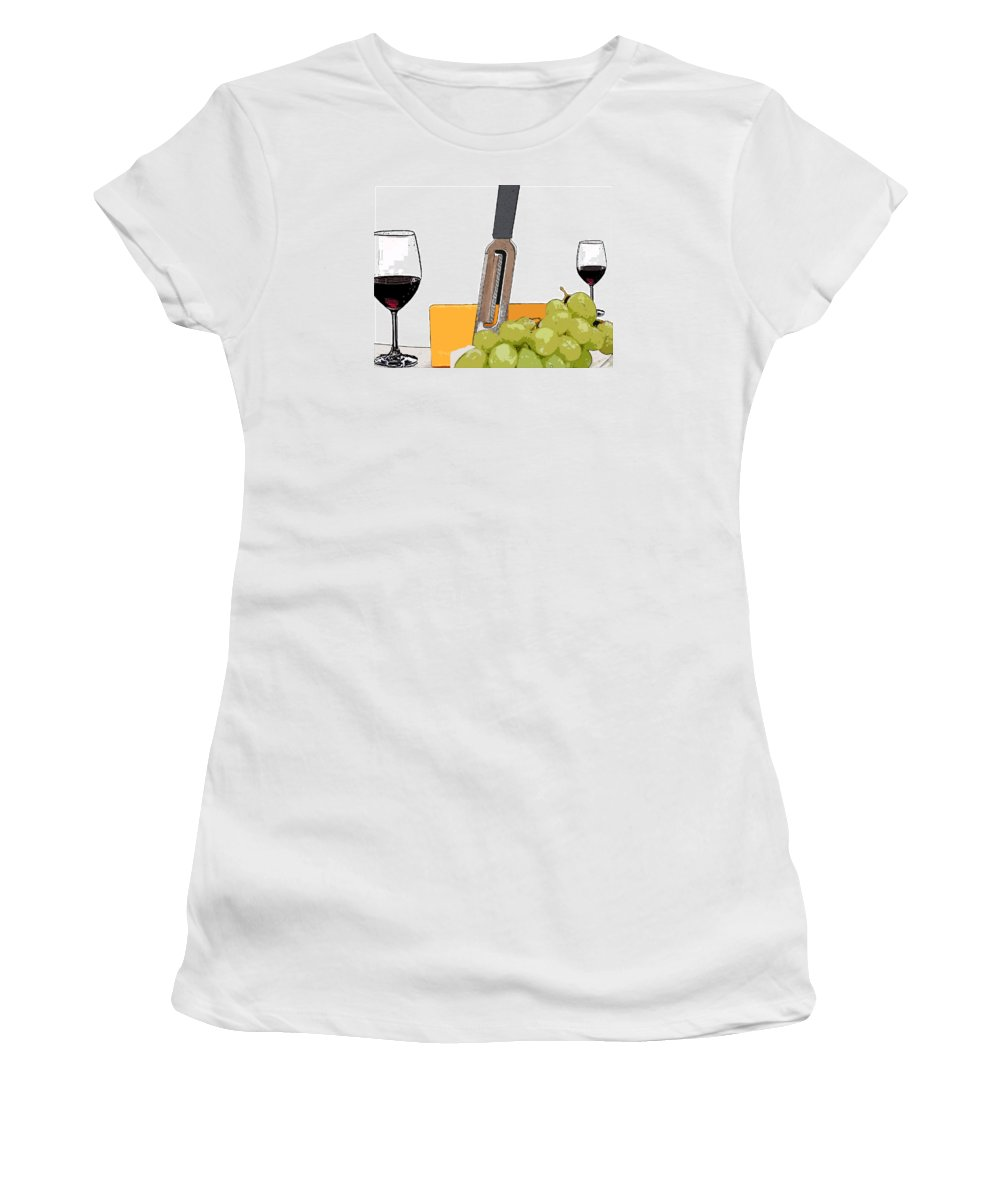 Wine Women's T-Shirt featuring the painting Wine And Cheese by Maura Satchell