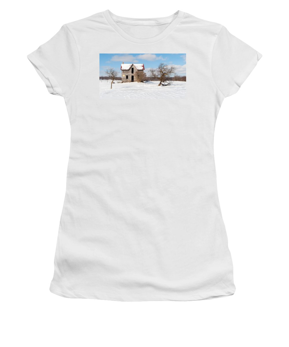 Winter Women's T-Shirt (Athletic Fit) featuring the photograph Winter Abandoned Farmouse by Richard Kitchen