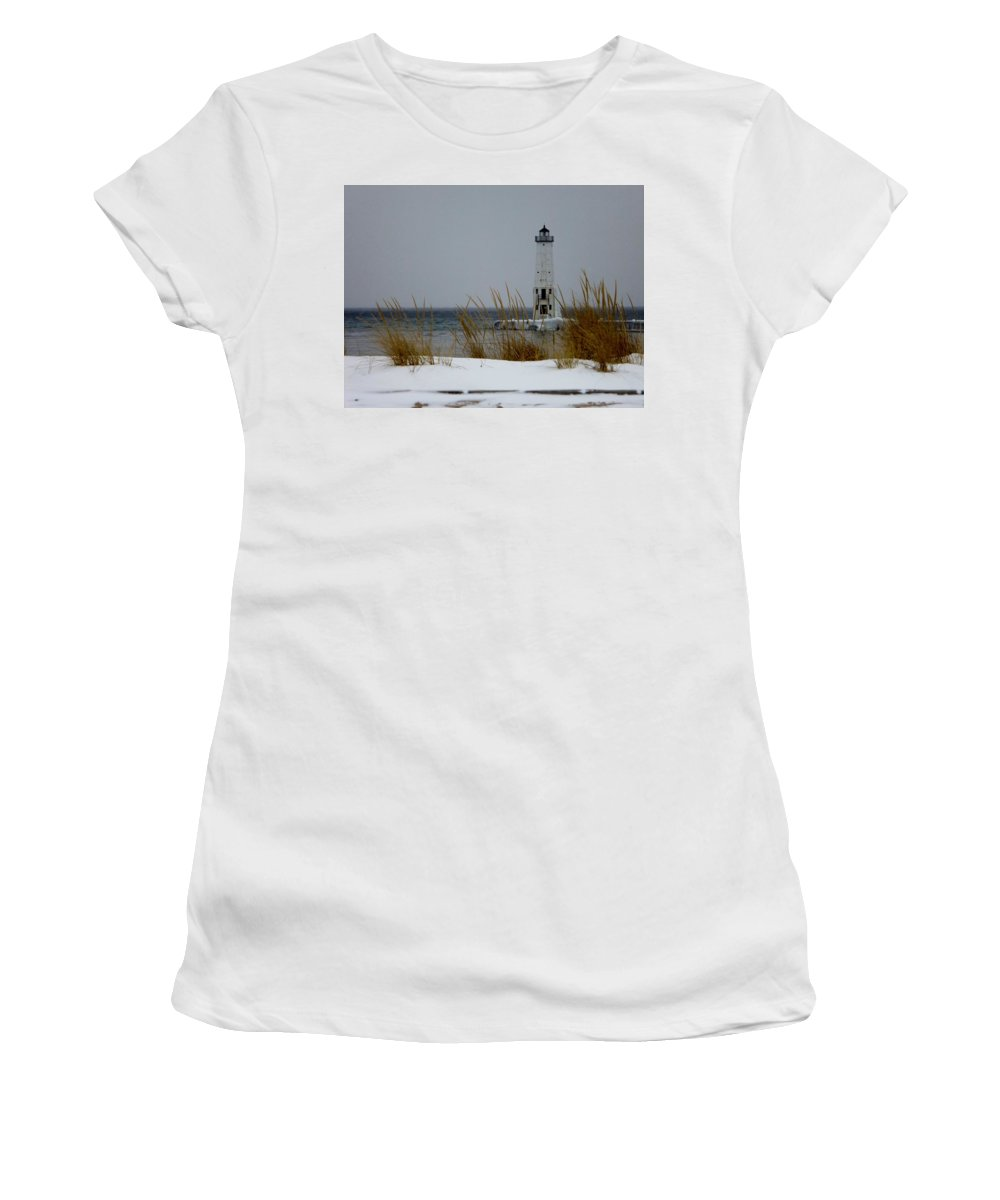 Frankfort Mi Women's T-Shirt (Athletic Fit) featuring the photograph Winter At Frankfort Lighthouse by Linda Kerkau