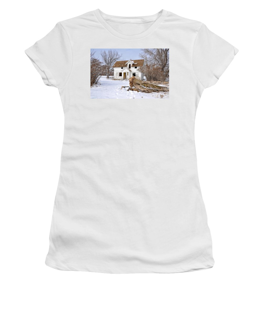 Idaho Falls Women's T-Shirt (Athletic Fit) featuring the photograph Winter Cleanup by Image Takers Photography LLC - Image Takers Photography LLC - Laura Morgan