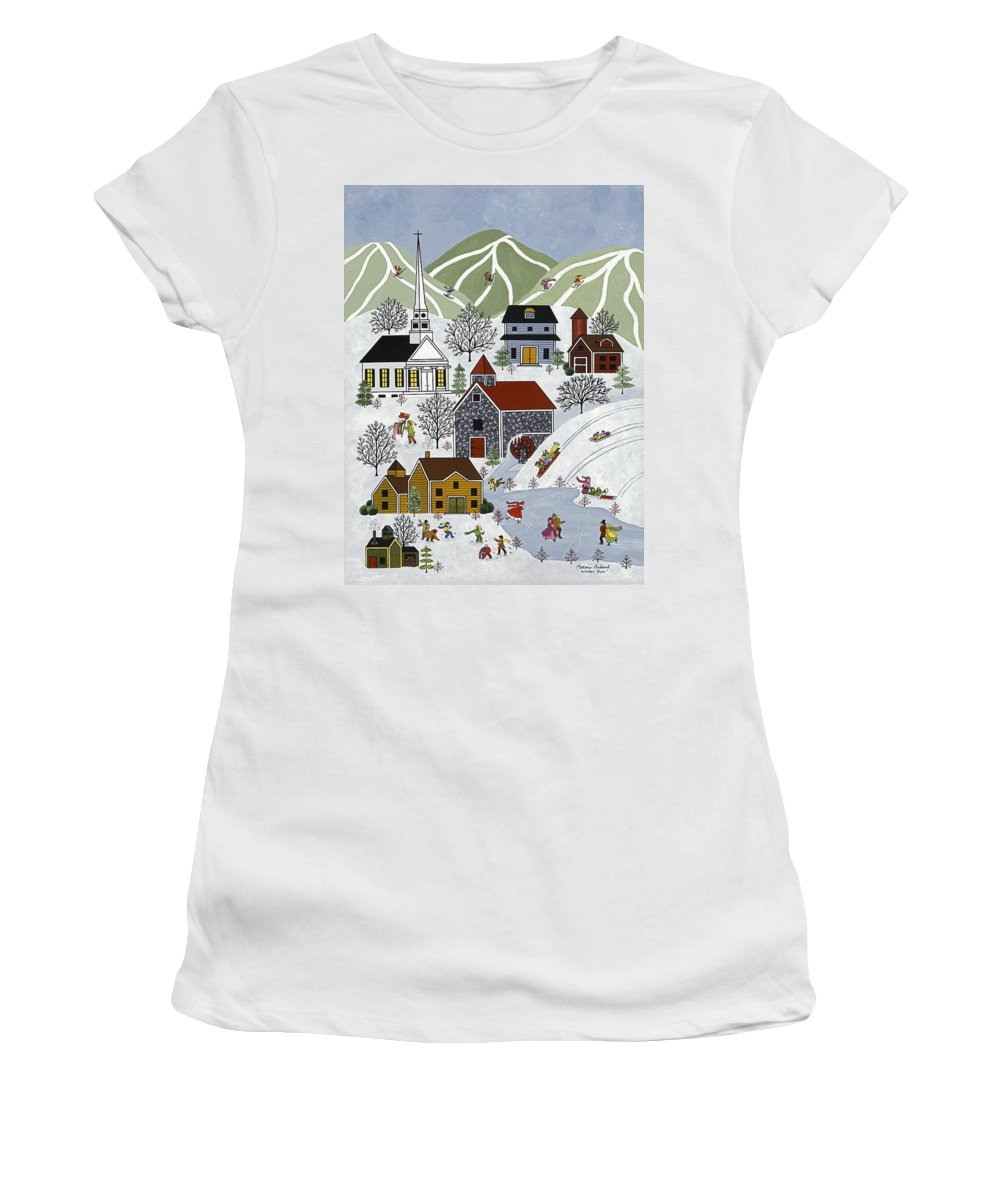 Winter Women's T-Shirt featuring the painting Winter Fun by Medana Gabbard
