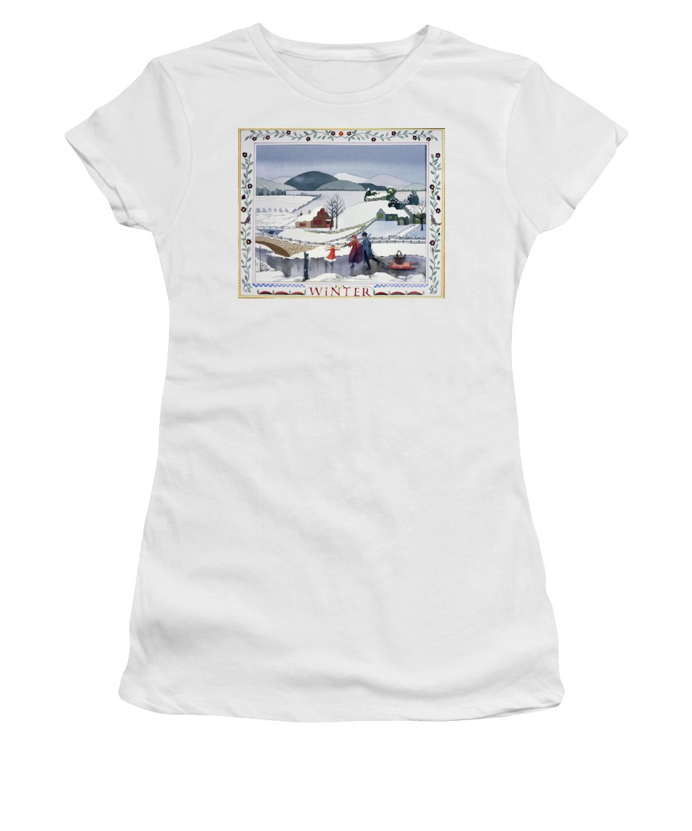 Julia Rowntree Women's T-Shirt featuring the photograph Winter by MGL Meiklejohn Graphics Licensing