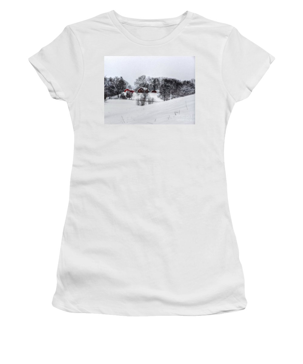 Alone Women's T-Shirt (Athletic Fit) featuring the photograph Winter Landscape 5 by Dan Stone