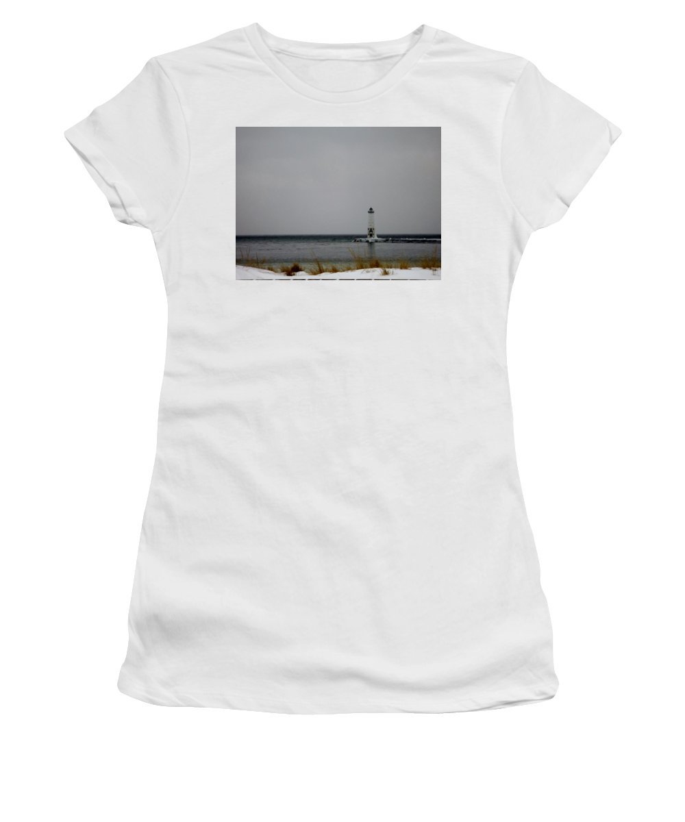 Frankfort Mi Women's T-Shirt (Athletic Fit) featuring the photograph Winter Lighthouse by Linda Kerkau