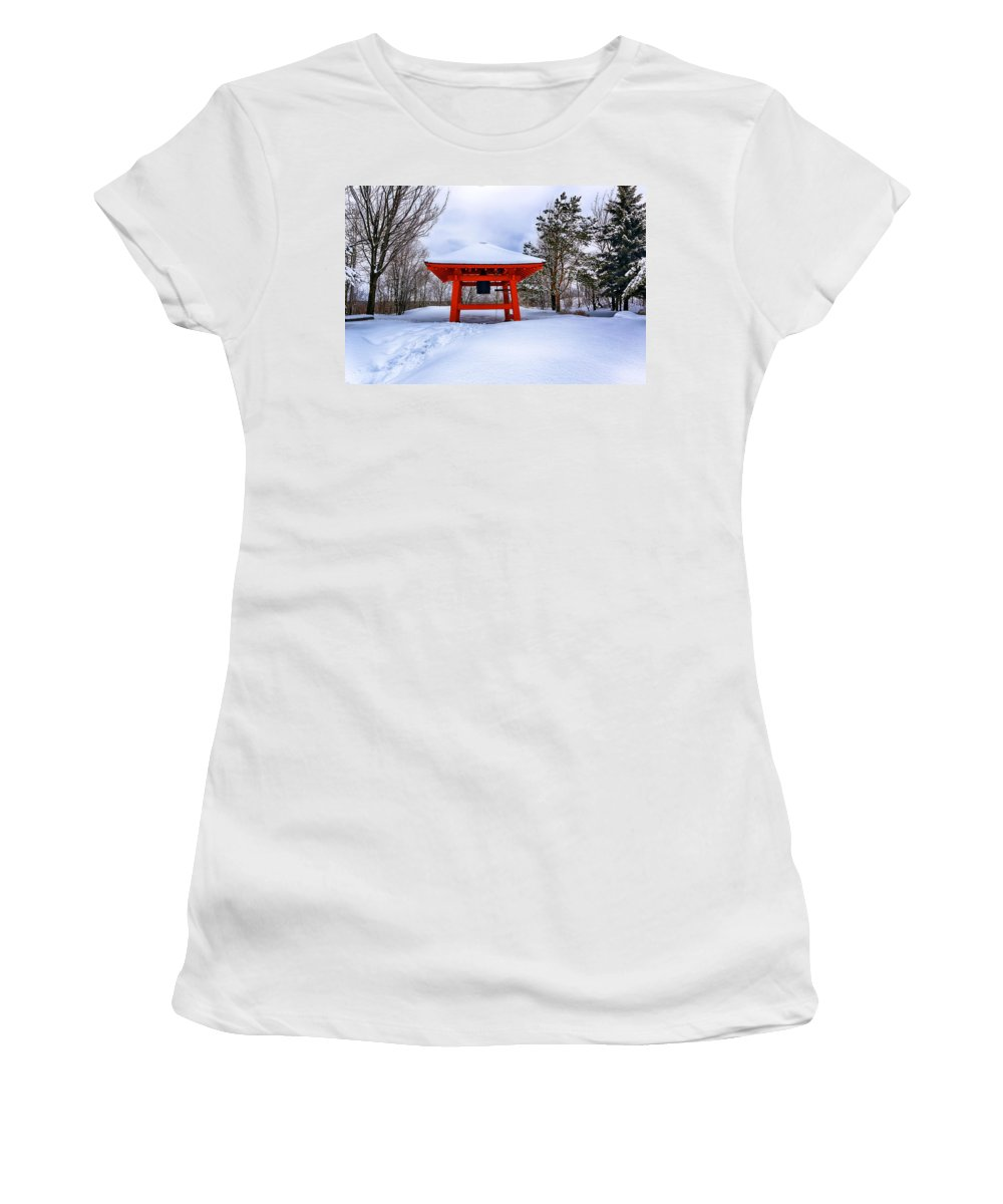 Winter Women's T-Shirt (Athletic Fit) featuring the photograph Winter Peace Bell by Bryan Benson