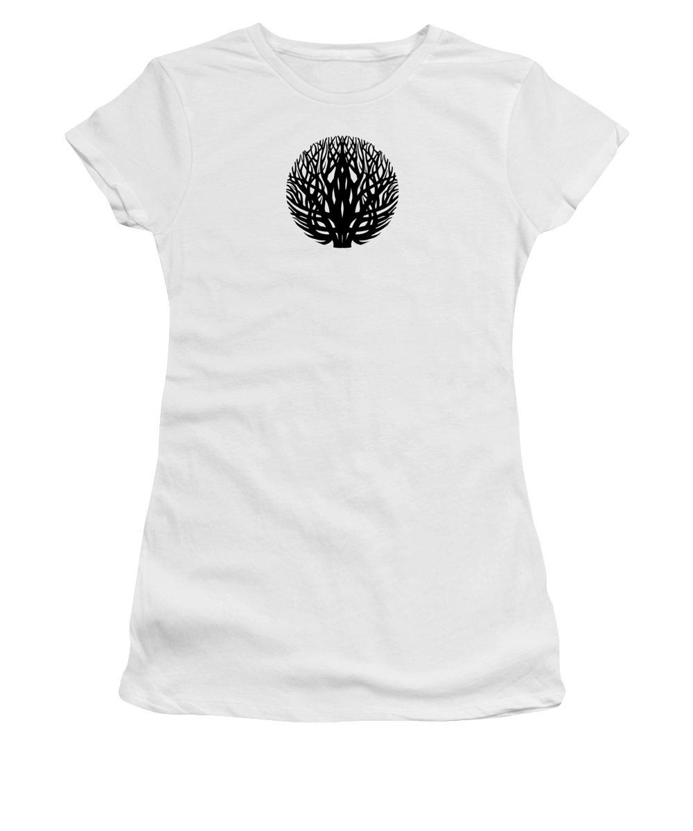 Tree Women's T-Shirt featuring the drawing Unity - Winter Tree by Anna Joanna Zborowska