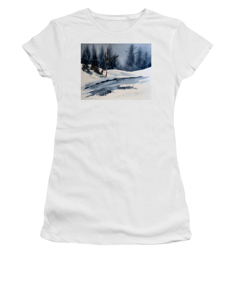 Winter Women's T-Shirt featuring the painting Winter by Wade Binford