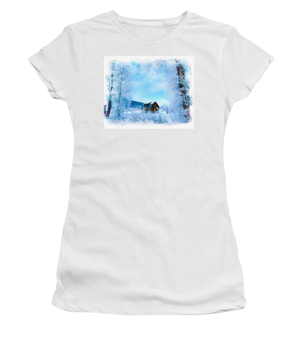 Water Women's T-Shirt featuring the digital art Winter Wonderland by Don Kuing