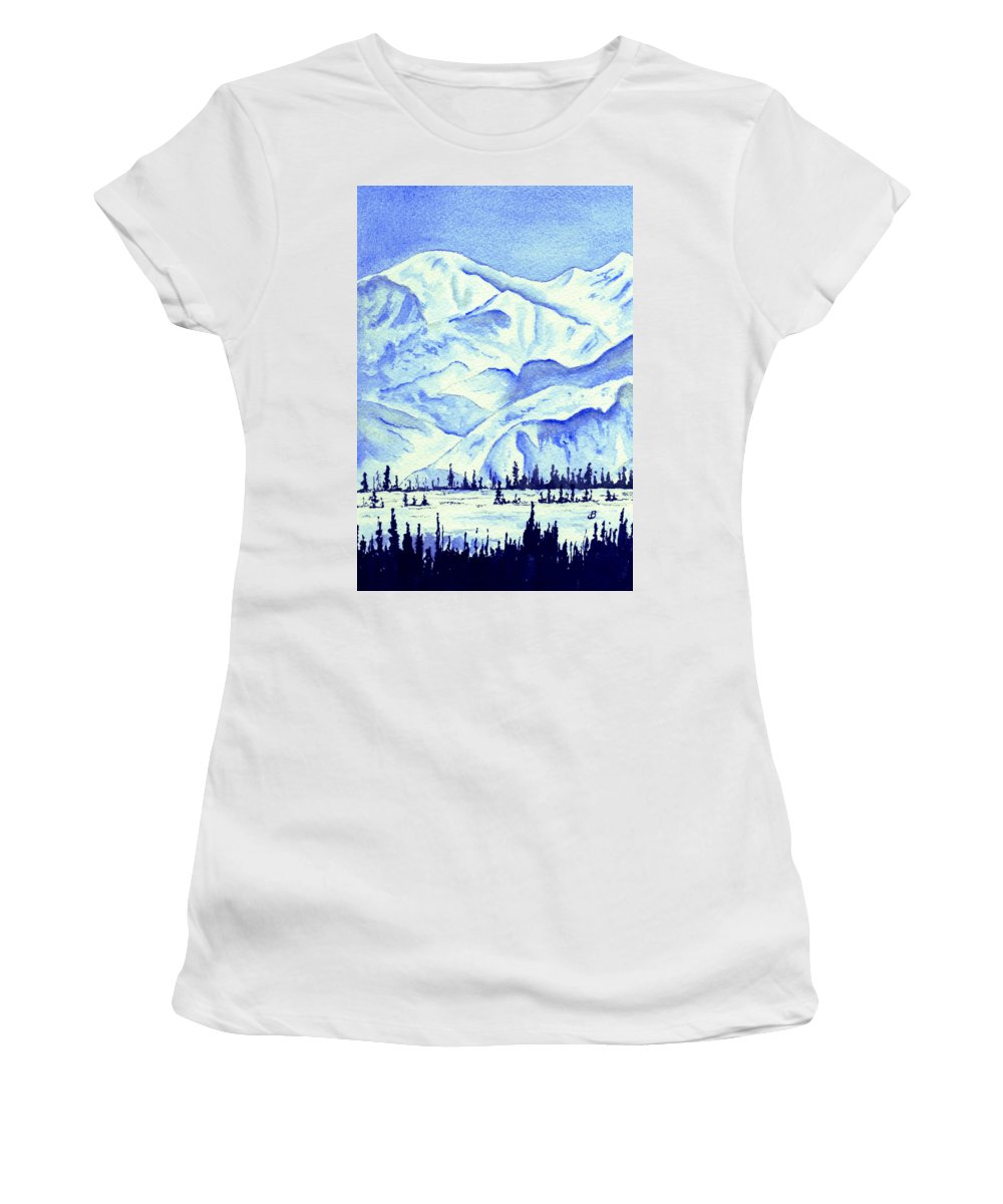 Landscape Women's T-Shirt (Athletic Fit) featuring the painting Winter's White Blanket by Brenda Owen