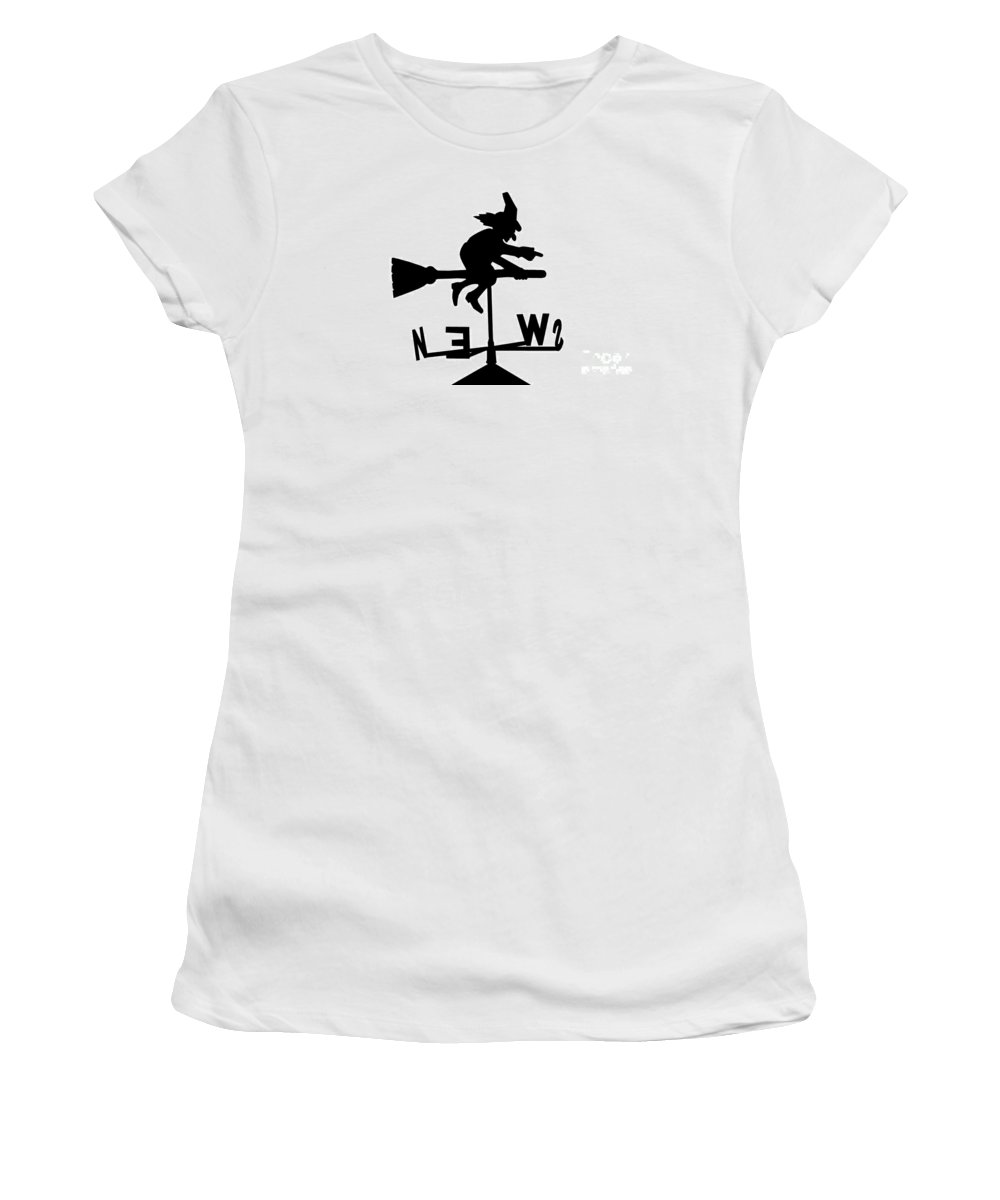 Witchcraft Women's T-Shirt (Athletic Fit) featuring the photograph Witch On A Broomstick by Simon Bratt Photography LRPS