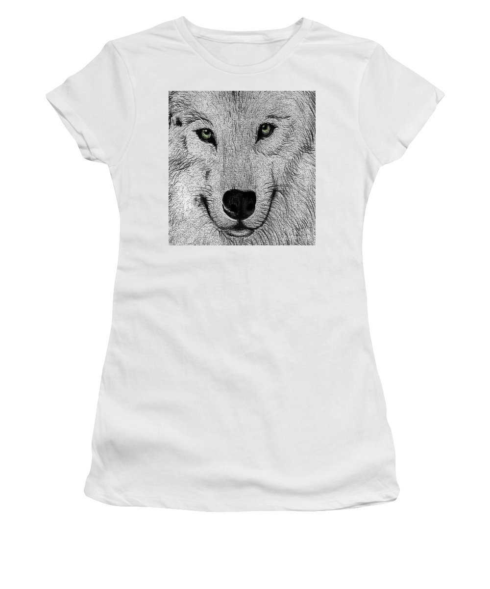 Animals Women's T-Shirt featuring the digital art Wolf 2 by Ben Yassa