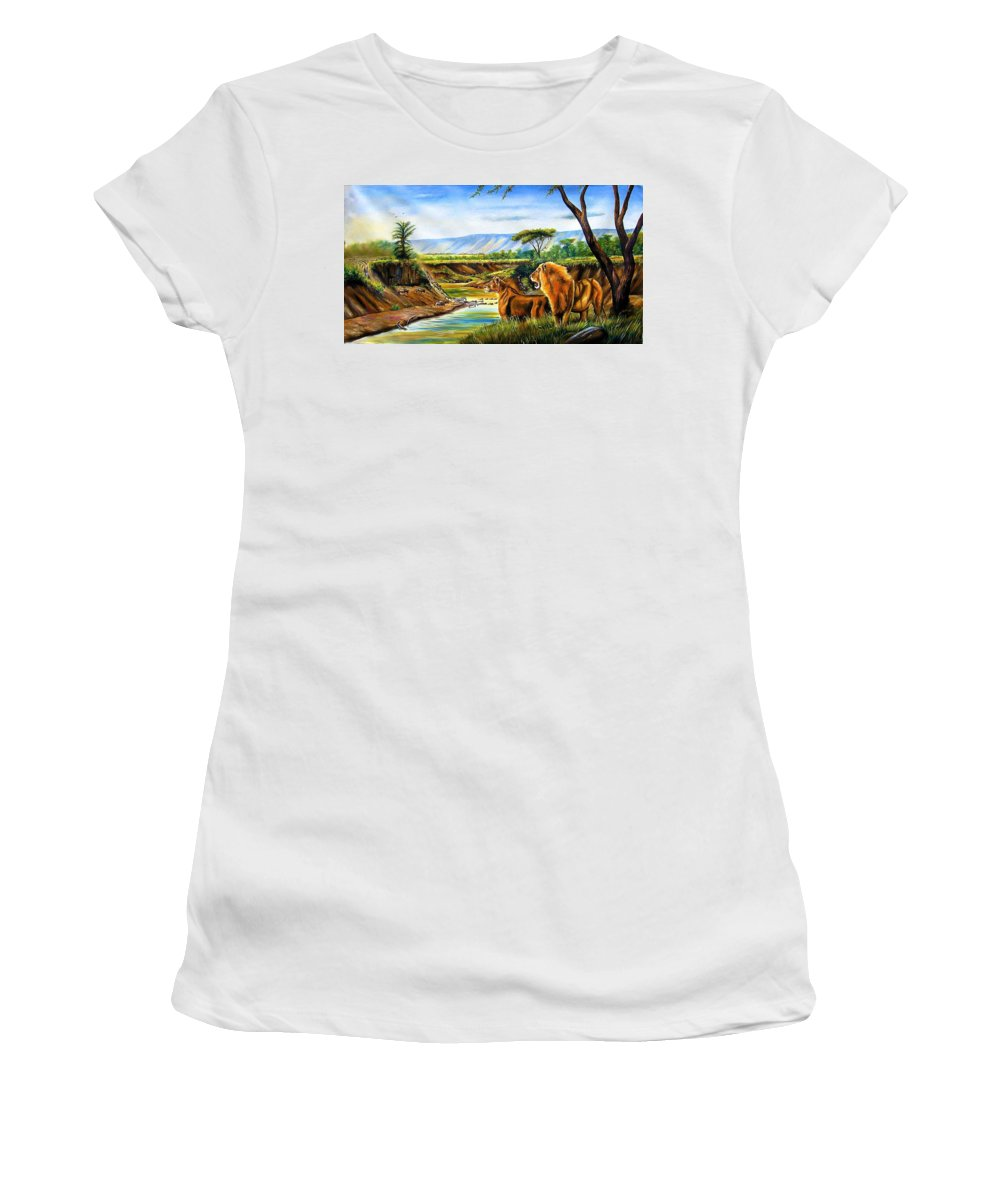 African Paintings Women's T-Shirt featuring the painting Wonder Of The Great Migration by Chagwi