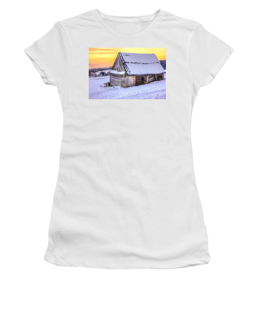 Hdr Women's T-Shirt featuring the photograph Wooden Hut In Sunset by Pati Photography