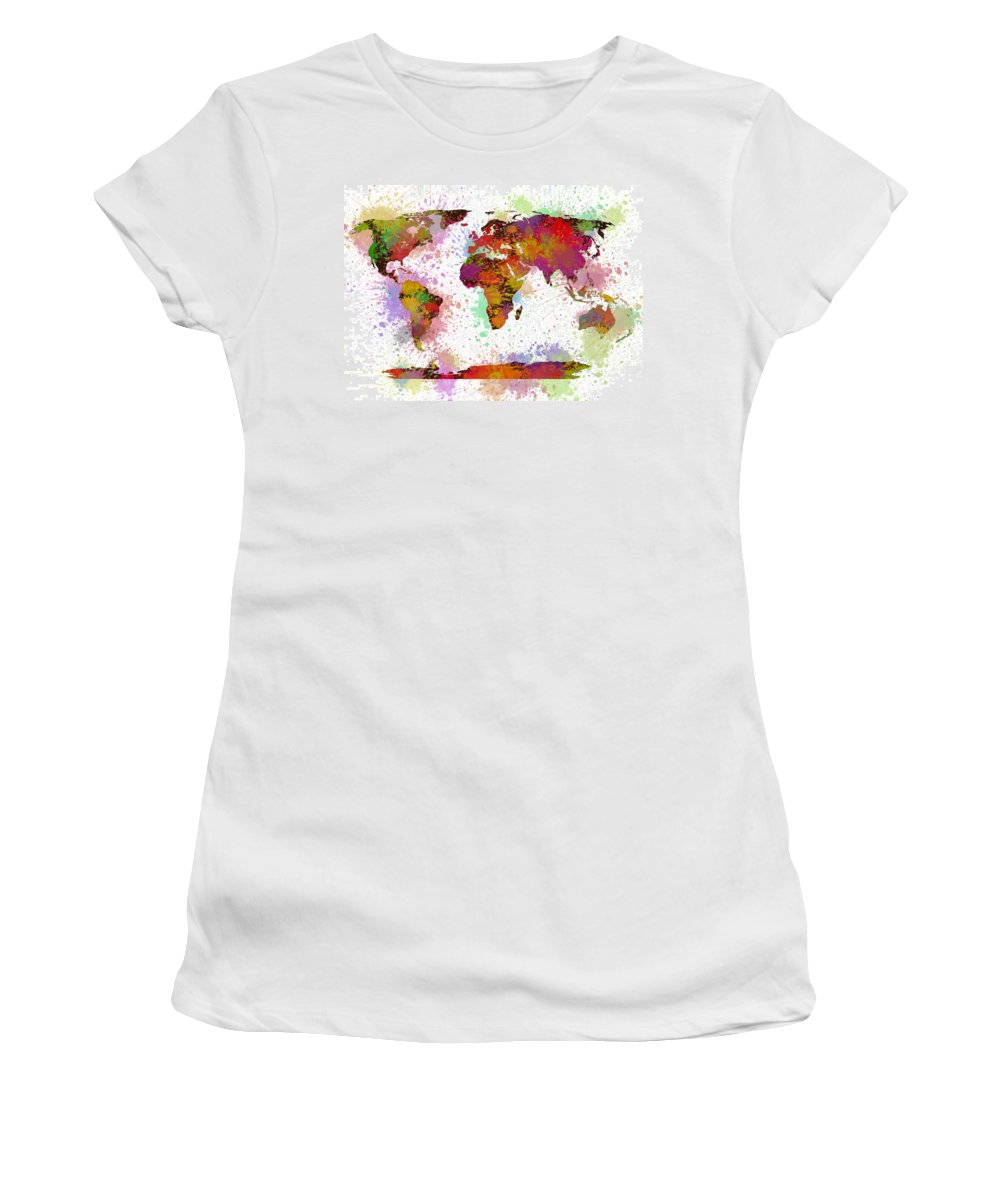 World Map Women's T-Shirt featuring the painting World Map Digital Watercolor Painting by Georgeta Blanaru