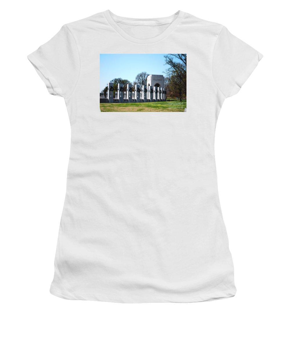 World War Ii Women's T-Shirt featuring the photograph World War II Memorial by DejaVu Designs