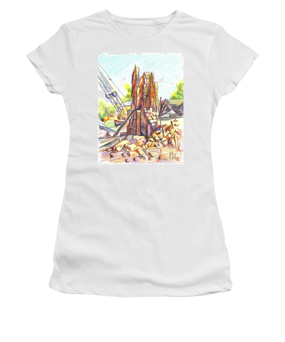 Wrecking Ball Women's T-Shirt (Athletic Fit) featuring the painting Wrecking Ball by Kip DeVore