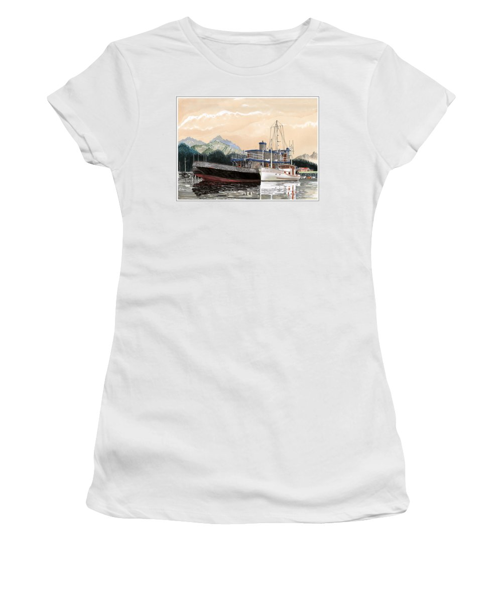 Yacht Portraits Women's T-Shirt featuring the painting Alaskan Sunrise by Jack Pumphrey