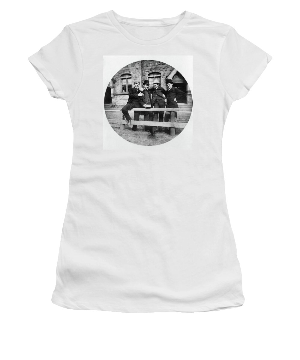 1890 Women's T-Shirt (Athletic Fit) featuring the photograph Yale Students, C1890 by Granger