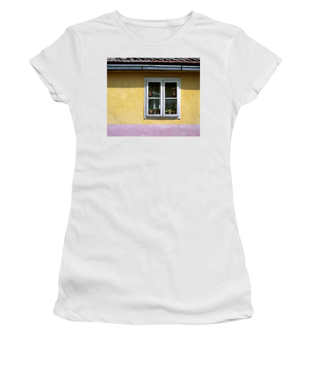Serbia Belgrade Women's T-Shirt (Athletic Fit) featuring the photograph Yellow And Pink Facade. Belgrade. Serbia by Juan Carlos Ferro Duque