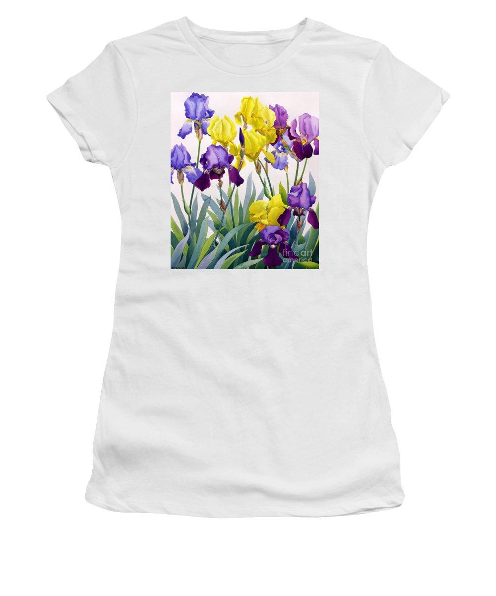 Yellow And Purple Irises Women's T-Shirt featuring the painting Yellow And Purple Irises by Christopher Ryland