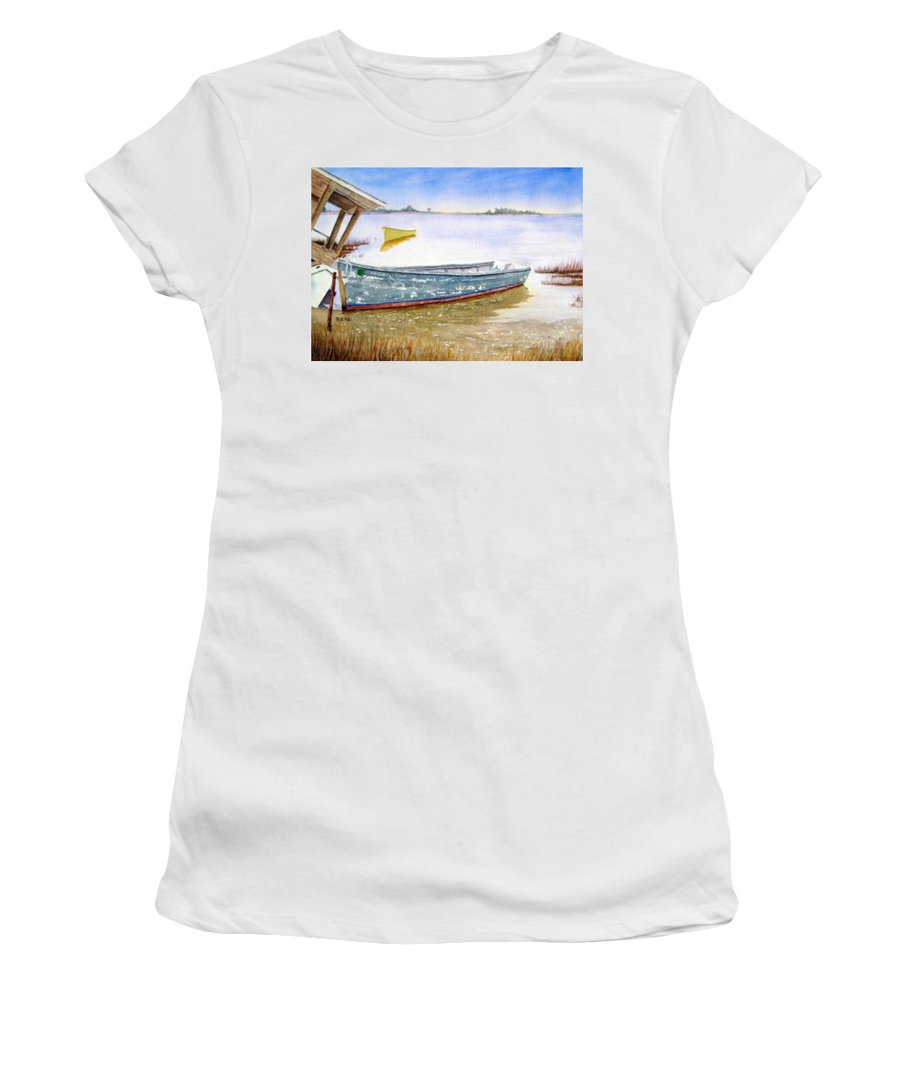 Yellow Women's T-Shirt (Athletic Fit) featuring the painting Yellow Boat II by Julia RIETZ