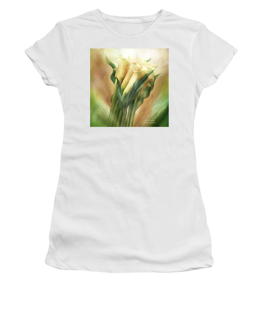 Calla Lily Art Women's T-Shirt (Athletic Fit) featuring the mixed media Yellow Callas by Carol Cavalaris