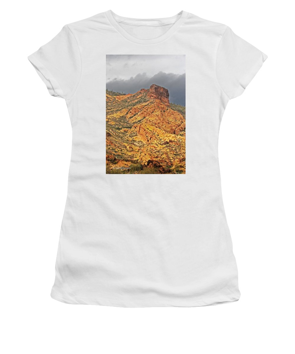 Yellow Colored Rock Along The Apache Trail Women's T-Shirt (Athletic Fit) featuring the photograph Yellow Colored Rock Along The Apache Trail by Tom Janca