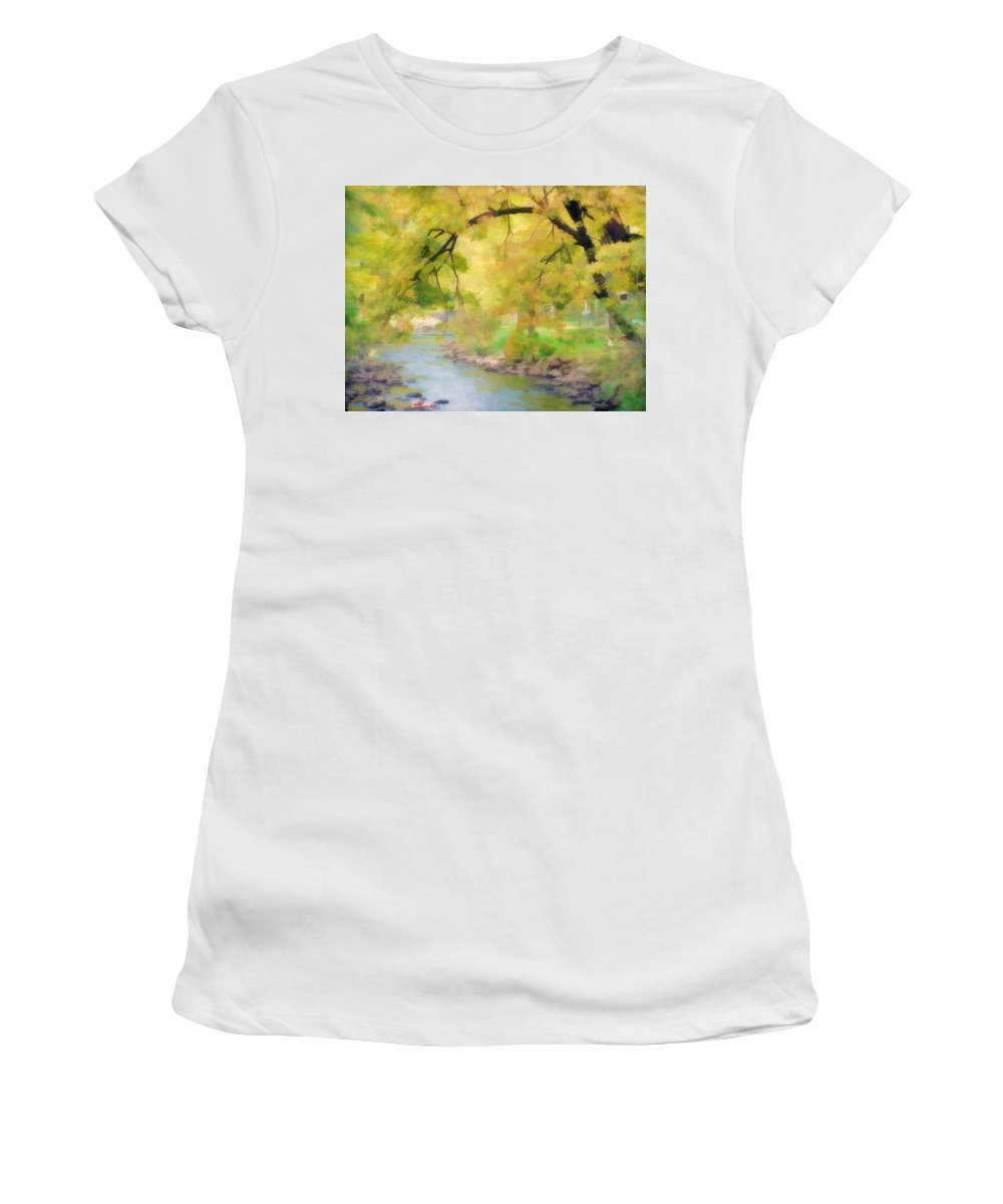 Fall Women's T-Shirt (Athletic Fit) featuring the photograph Yellow Flow by Tina Baxter