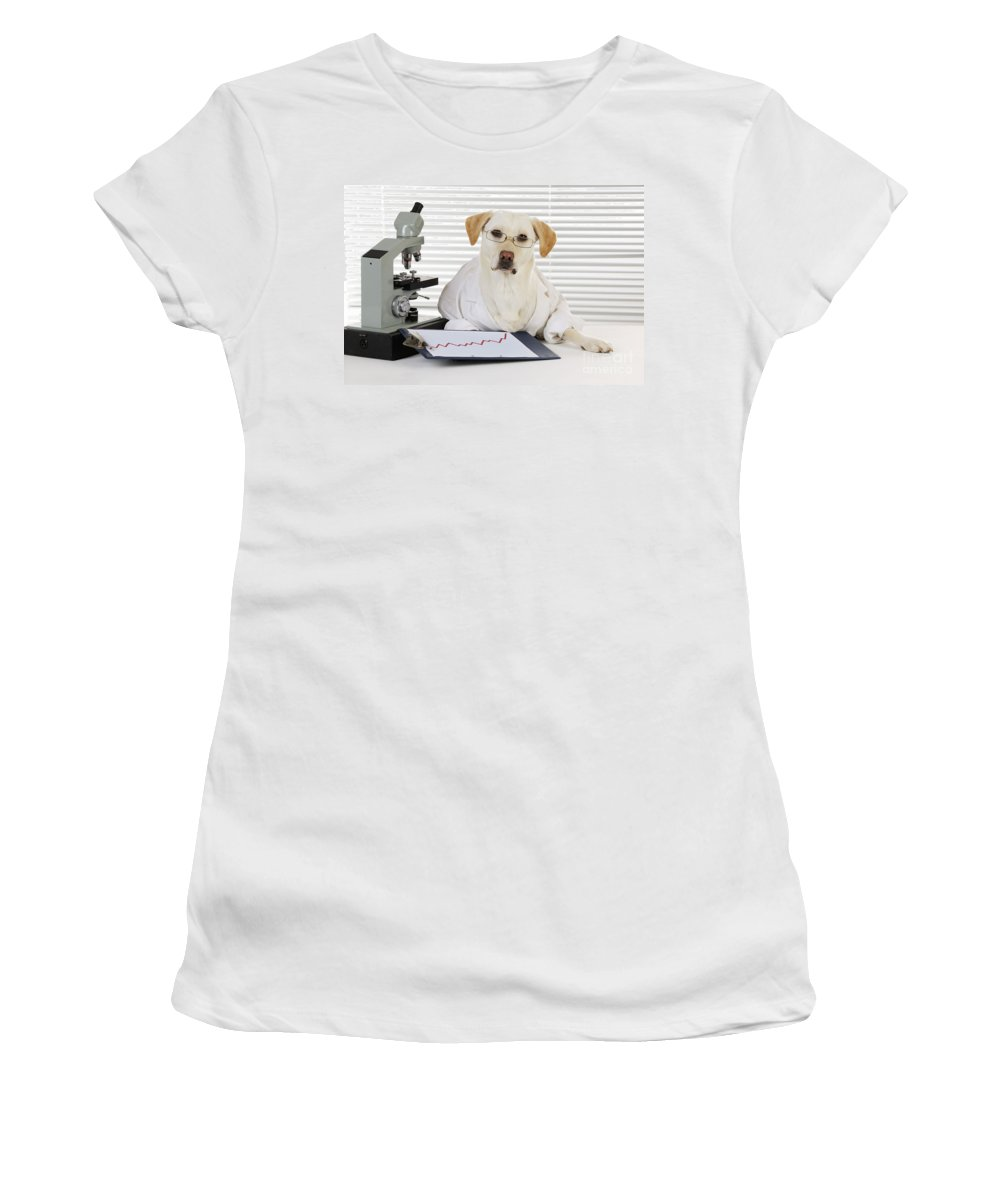 Labrador Retriever Women's T-Shirt (Athletic Fit) featuring the photograph Yellow Lab In Lab Coat by John Daniels