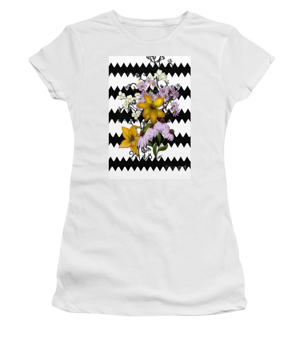 Zigzag Women's T-Shirt featuring the painting Yellow Lilies On Black And White Zigzag by Nancy Long