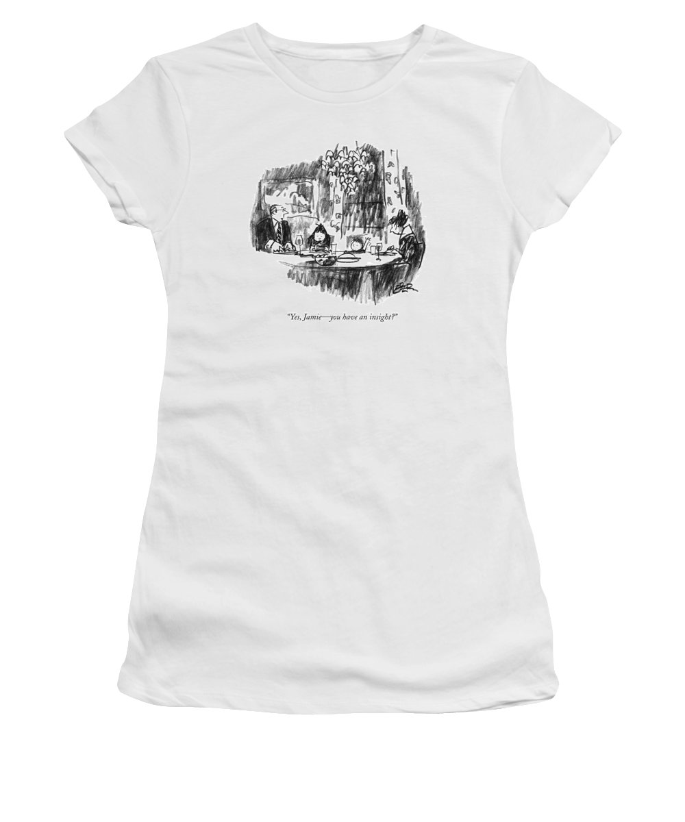 Dinner Women's T-Shirt (Athletic Fit) featuring the drawing Yes, Jamie - You Have An Insight? by Robert Weber