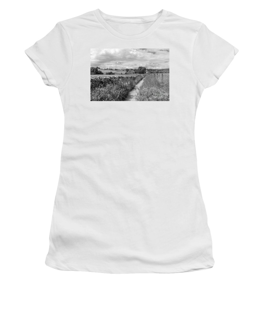 Yorkshire Dales Uk Dramatic Clouds England Uk English British Britain Landscape Countryside Traditional Path Through Track Trail Footpath Fluffy Cloud Single Lone Depth Cumulus White Black Mono Sky Skies Drifting Rural Dry Stone Wall Women's T-Shirt featuring the photograph Yorkshire Dales Uk by Julia Gavin