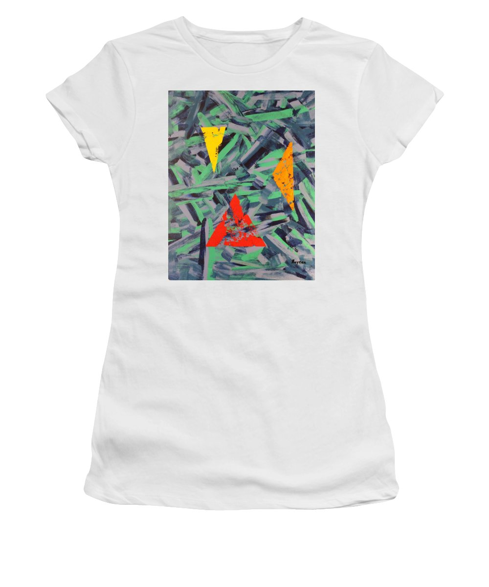Abstract Women's T-Shirt (Athletic Fit) featuring the painting You Missed The Point by David Mayeau
