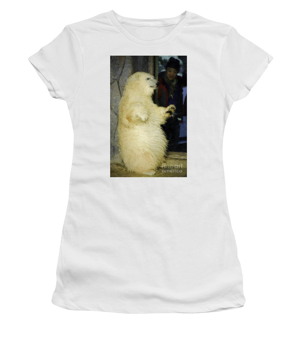 Polar Women's T-Shirt (Athletic Fit) featuring the photograph Young Polar Bear And Boy by Les Palenik