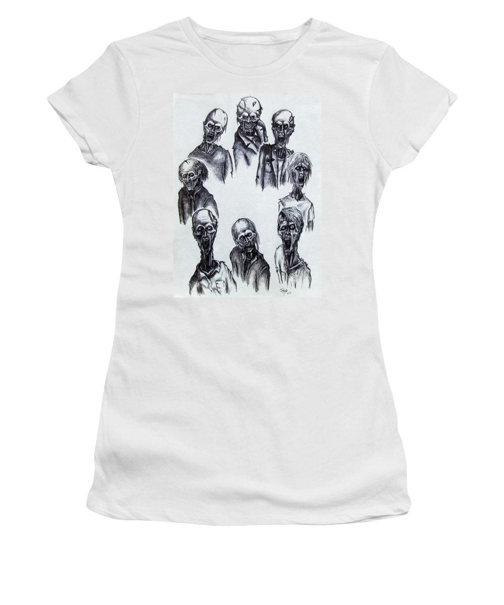 Michael Women's T-Shirt (Athletic Fit) featuring the drawing Zombies by Michael TMAD Finney