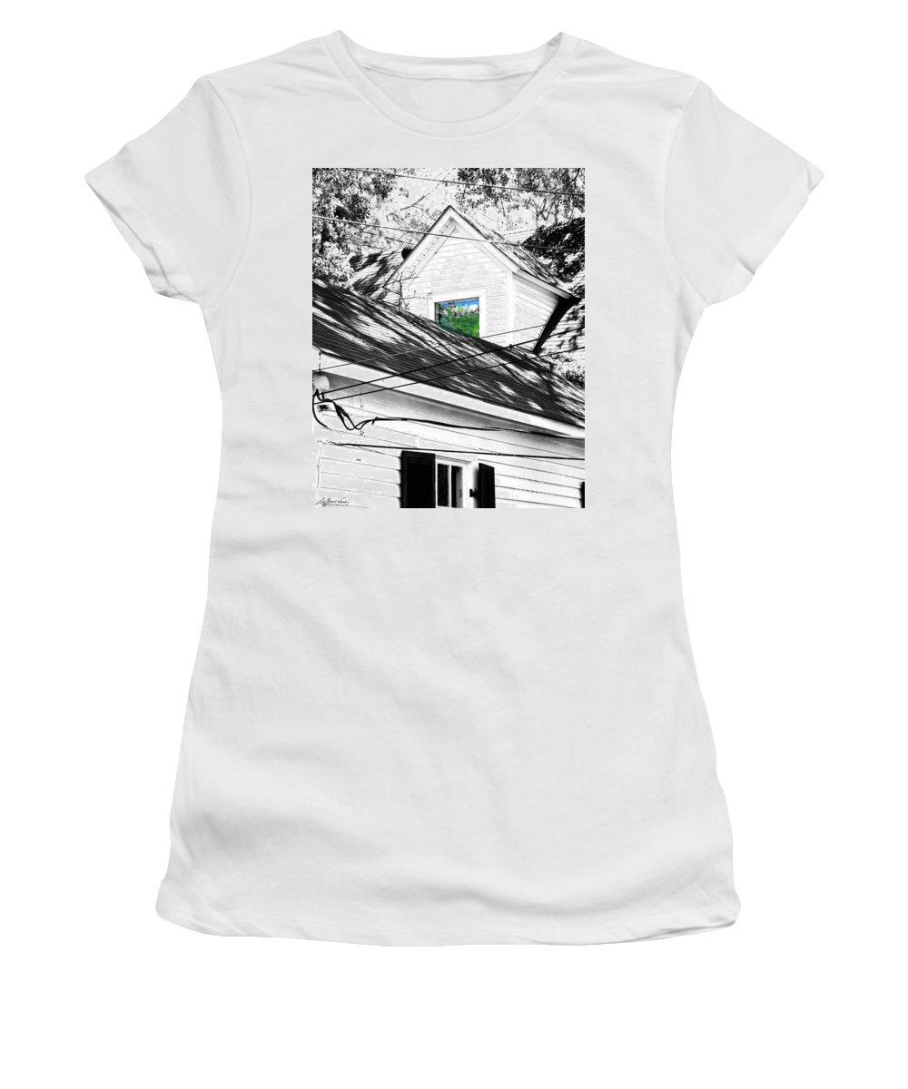 Beauregard Town Women's T-Shirt (Athletic Fit) featuring the digital art Beauregard Attic Baton Rouge by Lizi Beard-Ward