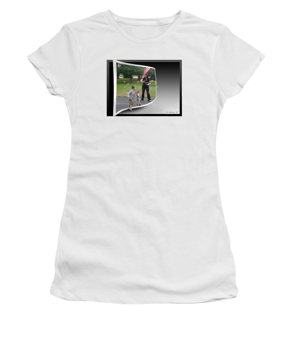 2d Women's T-Shirt (Athletic Fit) featuring the photograph Chasing Bubbles by Brian Wallace