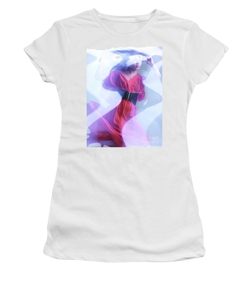 Fashion Women's T-Shirt (Athletic Fit) featuring the photograph Fashion Photo Of A Woman In Shining Blue Settings Wearing A Red by Oleksiy Maksymenko