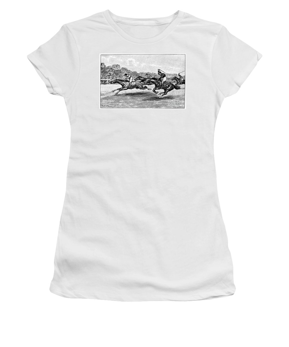 1900 Women's T-Shirt featuring the photograph Horse Racing, 1900 by Granger
