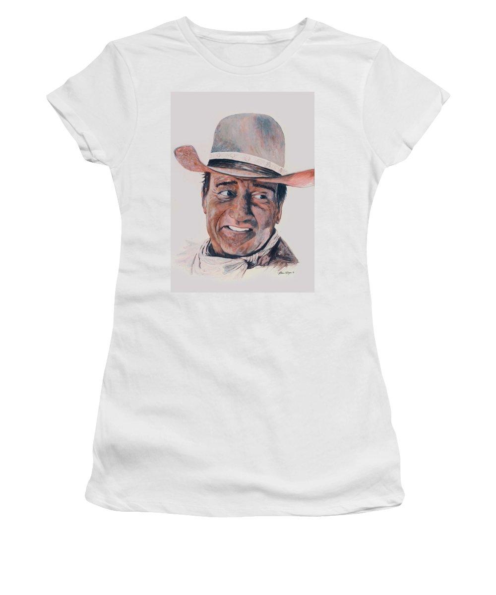 Portrait Women's T-Shirt featuring the painting John Wayne by Ben Kiger