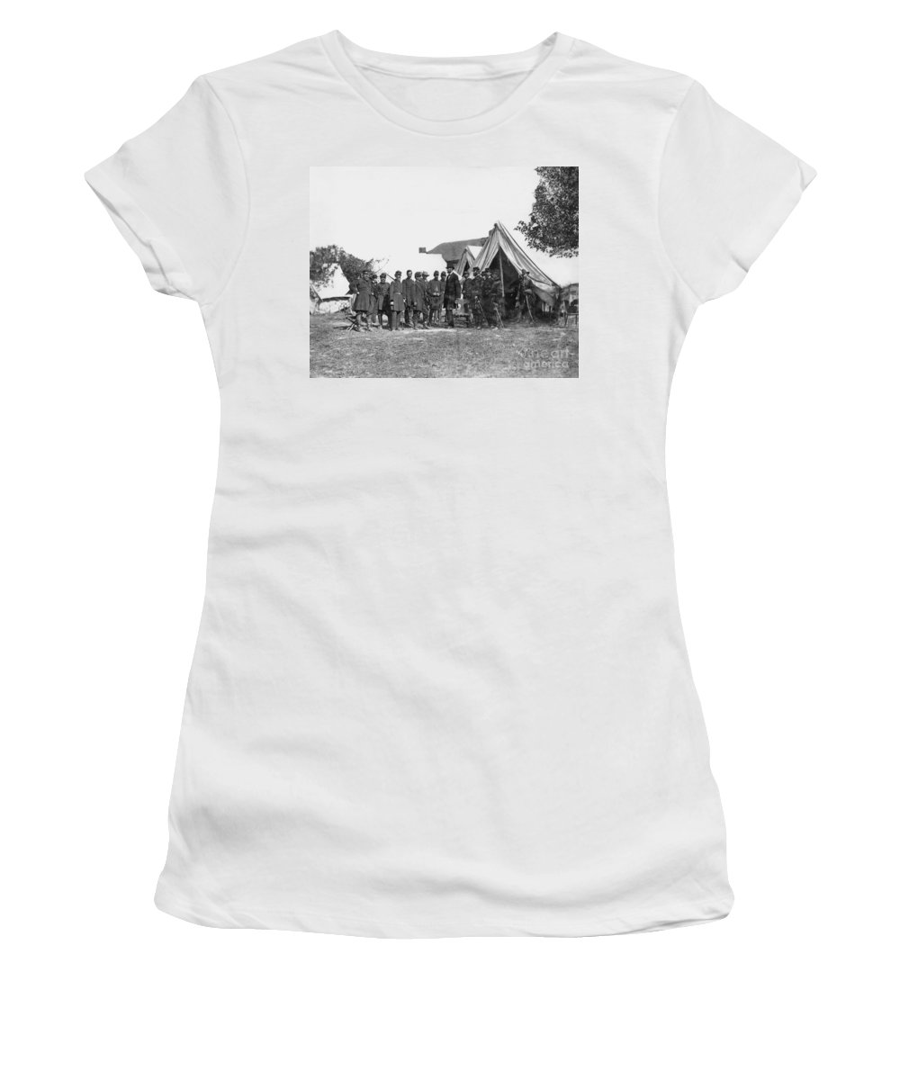 1862 Women's T-Shirt featuring the photograph Lincoln & Mcclellan by Granger